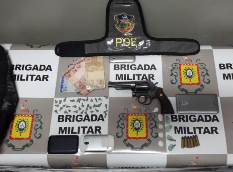 Arma, drogas e munições apreendidas pela Brigada Militar